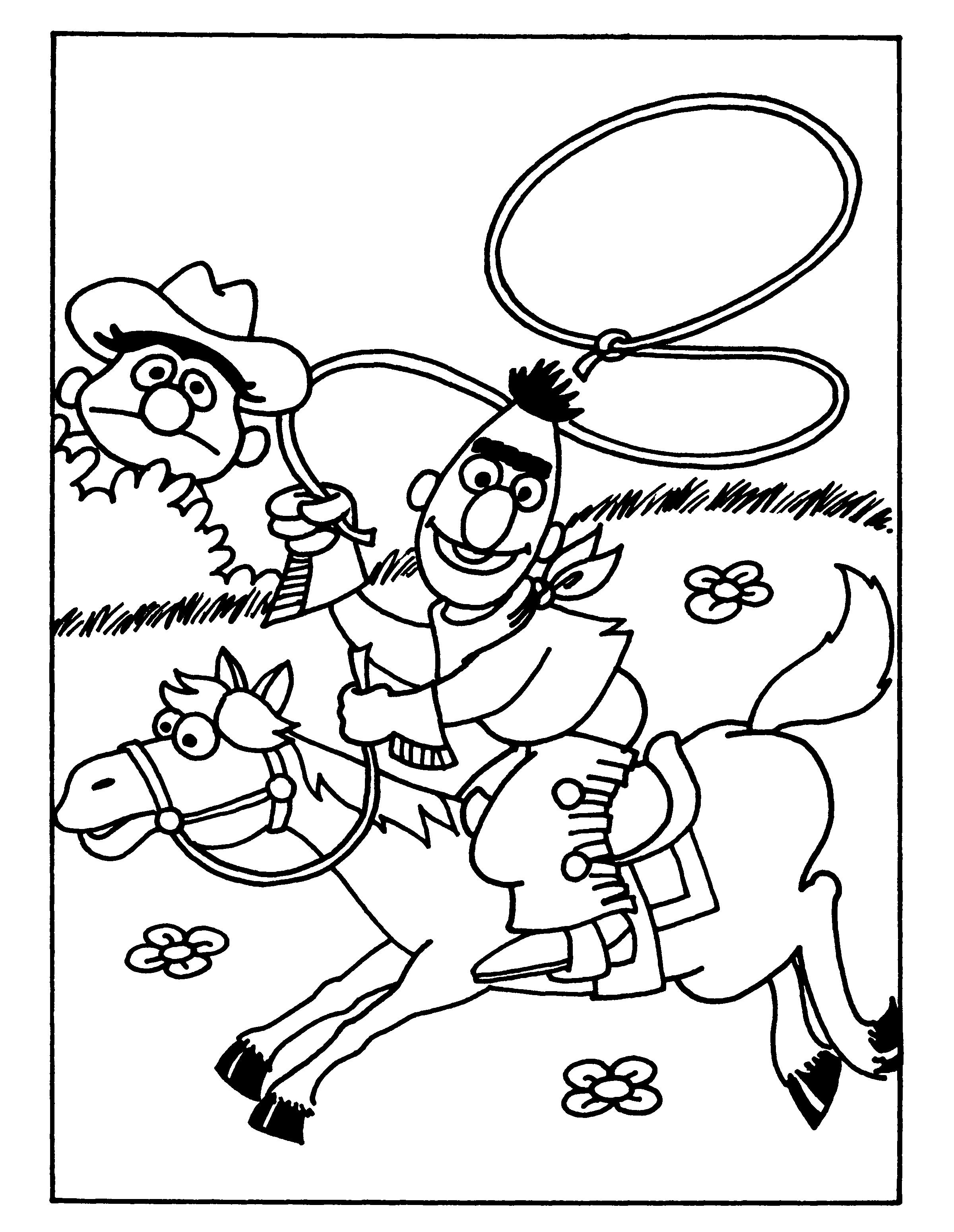 BertenErnie.nl-kleurplaten-Bert-en-Ernie-Cowboys