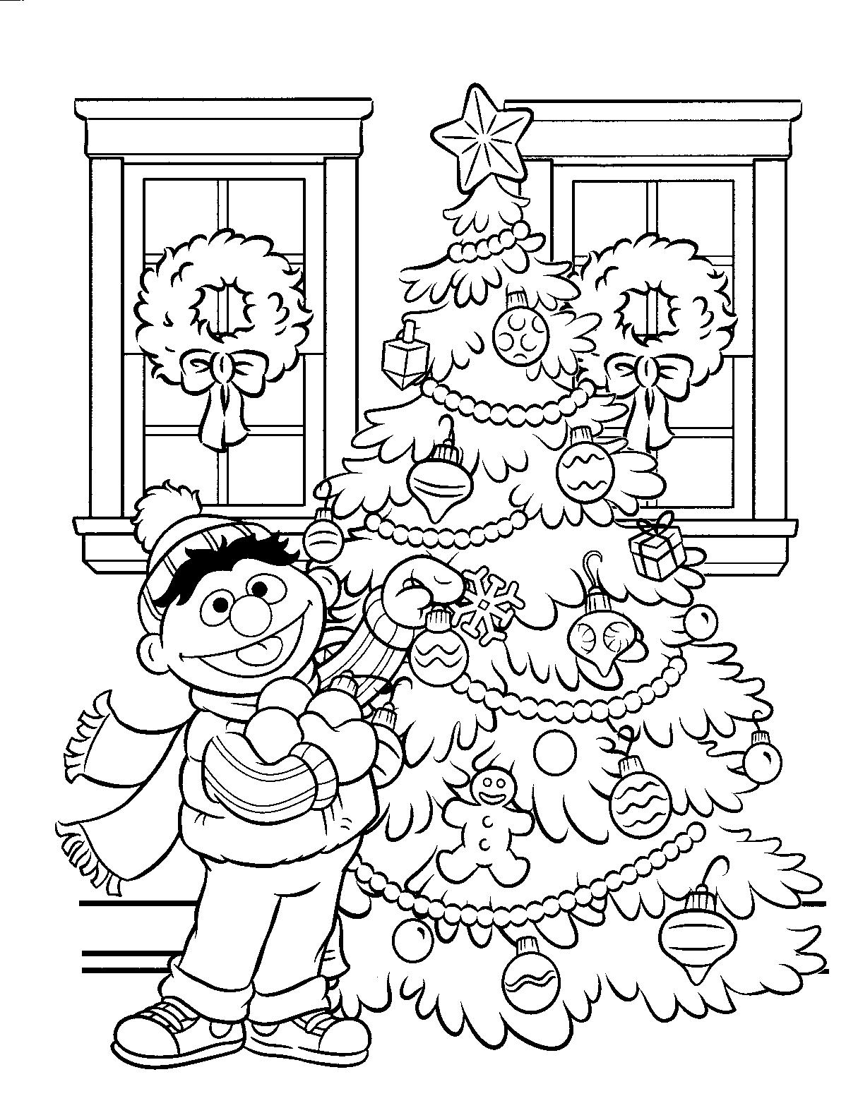 BertenErnie.nl-kleurplaten-Ernie-Kerstboom