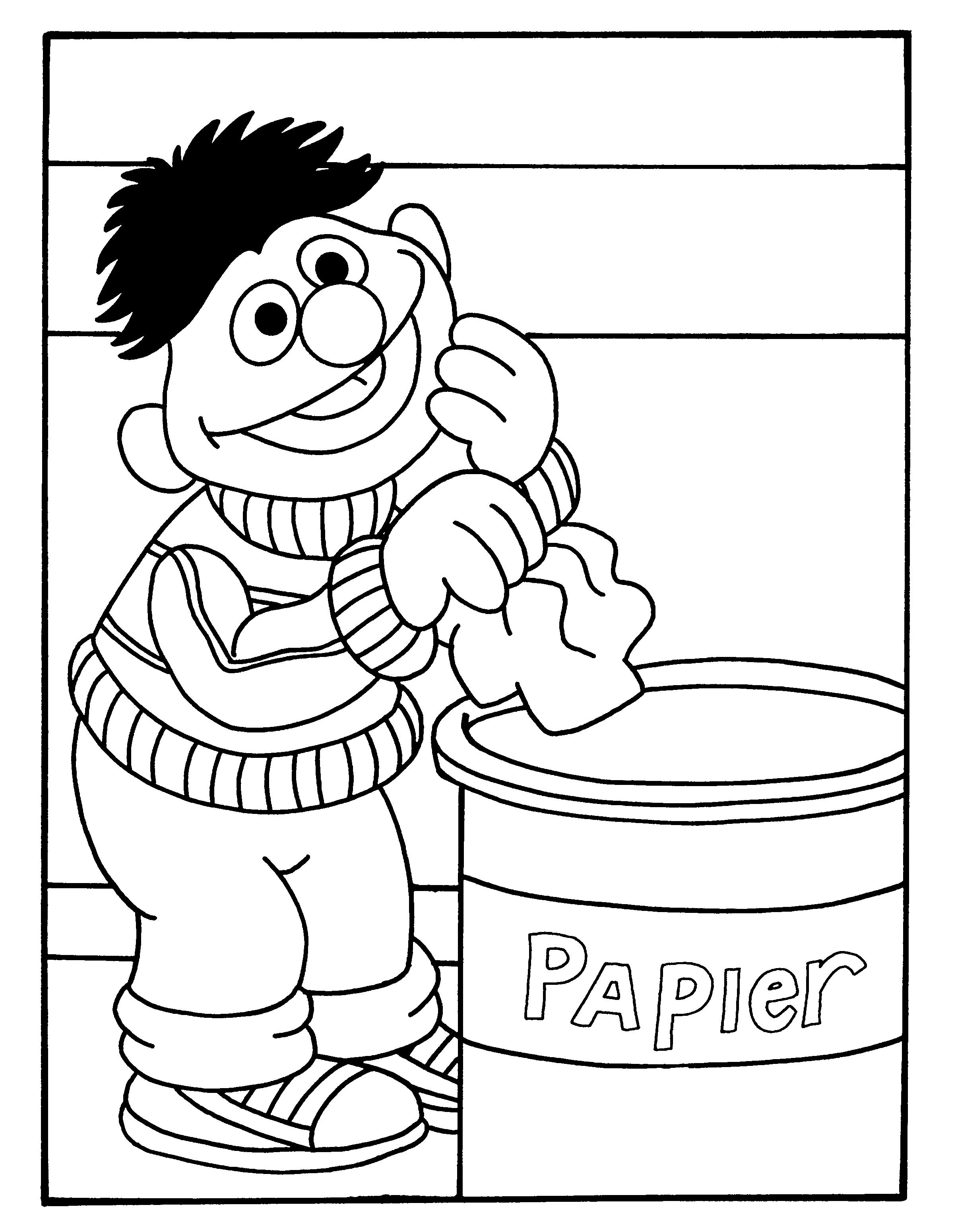 BertenErnie.nl-kleurplaten-Ernie-Prullenbak